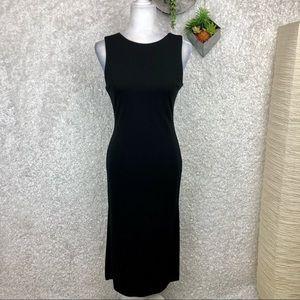 Vintage 90's Black Midi Sheath Dress LBD S